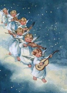 i Erica von Kager Christmas Past, Blue Christmas, Retro Christmas, Christmas Angels, Vintage Cards, Vintage Postcards, Vintage Christmas Images, Angel Pictures, Angel Cards