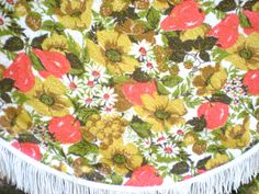 Round Tablecloth ~ Terry Cloth ~ Fringe ~ Orange gold Flowers Daisies ~ Kitchen Table Summer Picnic ~ food photography by chloeswirl on Etsy Scarf Display, Vanity Tops, Round Tablecloth, Summer Picnic, Gold Flowers, Daisies, 1970s, Food Photography, Dresser
