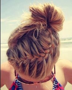 Braid/bun hybrid. Perfect for beach times.