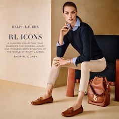 Luxury fashion house Ralph Lauren has presented the Ralph Lauren Icons collection. Designed with the same principles of quality and detailed precision as its male… Mode Outfits, Chic Outfits, Fashion Outfits, Fashion Ideas, Fashion Mode, Work Fashion, Trendy Fashion, Luxury Fashion, Dandy Look