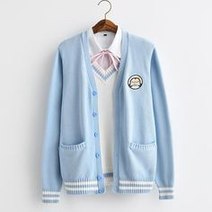 2017 new Cute Penguin baby embroidery college style Japan soft sister JK uniforms knitted Knit cardigan sweater blue & white sold by Shop more products from on Storenvy, the home of independent small businesses all over the world. Pastel Fashion, Kawaii Fashion, Cute Fashion, Look Fashion, Korean Fashion, Girl Fashion, Fashion Outfits, Fashion Design, Fashion Styles