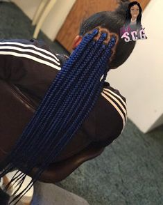 Fantastic Free of Charge blue Box braids Tips Sure, workplaces not too way back when, if a specialized African-American female will not have deeme Blue Box Braids, Colored Box Braids, Large Box Braids, Short Box Braids, Black Girl Braids, Sew In Hairstyles, African Braids Hairstyles, Black Girls Hairstyles, Braided Hairstyles