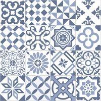Carrelage imitation ciment bleu et blanc mix 20x20 cm ANTIGUA AZUL - 1m² Ribesalbes