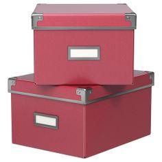 KASSETT Box with lid - black, 33x38x30 cm - IKEA