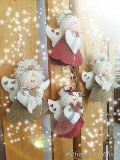 Trillino by Laura Tosi Shabby Chic Christmas Ornaments, Christmas Angel Crafts, Christmas Lamp, Felt Christmas Decorations, Christmas Ornament Sets, Christmas Sewing, Angel Ornaments, Christmas Pillow, Christmas Bells