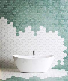 """WarmYourFloor.com on Instagram: """"🛀🏻 . . . . . #tileideas #bathtubgoals #bathroomgoals #hexagontiles #bathroominspo #beautifulbathroom #beautifulbathrooms #dreambathroom…"""" Hexagon Tile Bathroom, Hexagon Mosaic Tile, Modern Bathroom Tile, Marble Mosaic, Bathroom Interior Design, Tiled Walls In Bathroom, White Mosaic Bathroom, Bathroom Tiles Combination, Shower Floor"""