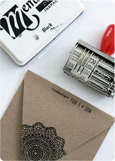 Stämplade kort & kuvert – Stamped card & envelopes - Craft & Creativity