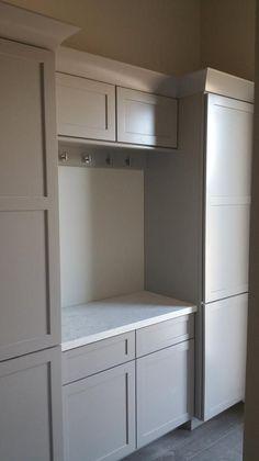 A beautiful kitchen design using Schrock Cabinets. Designed by Elyssa Mock  #kitchen #schrock #masterbrand #white #gray #modern