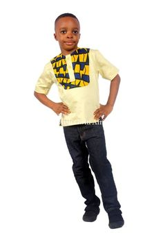 Boys Short Sleeves Shirts enhanced with a fusion of African Print Children Clothes Yellow and Blue A unique bright short sleeves shirt with 2 front buttons Baby African Clothes, African Dresses For Kids, African Children, African Print Shirt, African Shirts, African Attire, African Wear, African Print Wedding Dress, Kids Fashion Boy