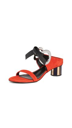 Proenza Schouler Front Tie Mule Sandals In Red Mule Sandals, Mules Shoes, Proenza Schouler, World Of Fashion, Luxury Branding, Leather Sandals, Open Toe, Heels, Red