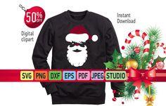 Santa's Face svg, Christmas SVG, big guy svg, Santa Face svg, DXF, Santa svg, cut file, beard svg, Christmas shirt, iron on, commercial use by SuperDuperDIY on Etsy