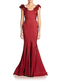 Marchesa Off-The-Shoulder Fishtail Gown