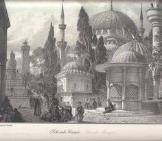 Gravürlerdeki Eski İstanbul -  Şehzadebaşı - İstanbul - Türkiye Black Sea, Black And White, Picture Engraving, City Art, Pyrography, Islamic Art, Old Houses, Istanbul, 19th Century