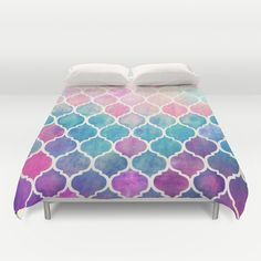 """""""Rainbow Pastel Watercolor Moroccan Pattern"""" Duvet Cover by Micklyn on Society6."""