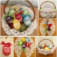 Easter basket with clothes for eggs, spring decoration, easter home decoration, crochet basket, handmade by Niezapominajkinet on Etsy