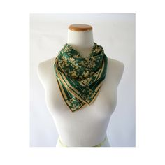 Green Floral Scarf Vintage 60s 70s Hair Wrap Scarf Accessory Silk Mod Retro 1960s 1970s by GoodLuxeVintage on Etsy