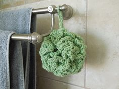 This is an easy free pattern for making a bath puff / pouf. It is not scratchy like a nylon puff, but still suds up well when used with liquid body wash. It has a loop to hang d...