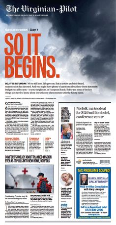 Sequestration, Day 1. The Virginian-Pilot's front page for Saturday, March 2, 2013. #newspaper