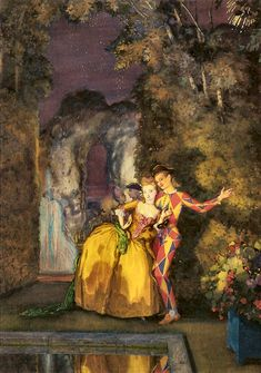 Lady and Harlequin (Fireworks ), 1912 by Konstantin Somov. Couple Painting, Couple Art, Chaim Soutine, Galerie D'art, Art Database, Russian Art, Old Master, Couples In Love, Retro