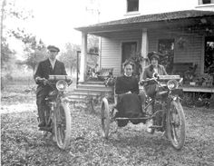 1900's Man and woman on Indian motorcycles, with older woman in side-car - De Land, Florida