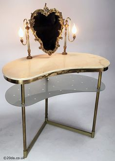 Hollywood Regency - 1950s Italian Brass, Marble and Glass Vanity Unit / Dressing Table