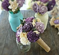 Handmade Wedding Bouquet  Shades of Purple by CuriousFloralCrafts, $63.00  I'm in LOVE. ~TB