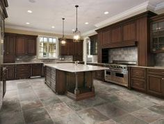 Jaw-Dropping: Unique Kitchen Tile Ideas You'll Want For Your Home: Idea:  Stone-Looking Porcelain Tile for Kitchen Floor