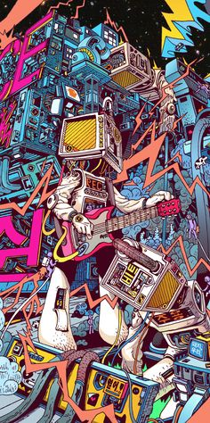 Space hardrock machine by lee juyong, via behance dope art, pop art wallpaper, Behance Illustration, Illustration Art, Psychedelic Art, Graffiti Art, Dope Kunst, Plakat Design, Arte Pop, Cool Wallpaper, Wallpaper Wallpapers
