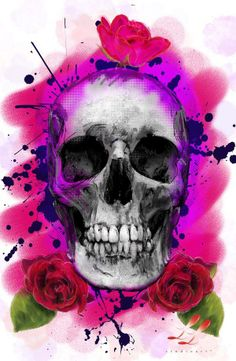 This would be a beautiful watercolor tattoo! I don't like the rose on top of the skull though. Totenkopf Tattoos, Skull Artwork, Skull Painting, Skull Wallpaper, Skulls And Roses, Macabre, Dark Art, Oeuvre D'art, Amazing Art