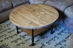 Round Industrial Coffee Table W/ Shelf, Reclaimed Wood Furniture, Industrial…