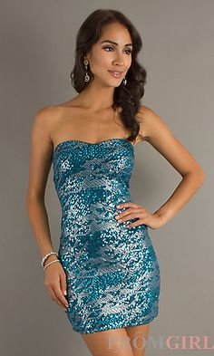 Turquoise Sequin Party Dress for Prom at PromGirl.com Style:AS-I345818k4Details:Sequin EmbellishedFabric:93% Polyester, 7% SpandexLength:26 inchesNeckline:Strapless SweetheartWaistline:Natural  Price:$34.00