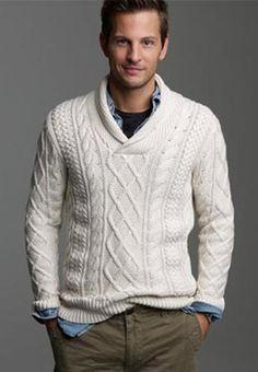 Men's Hand Knitted Shawl Collar Sweater 34B #MensFashionSweater