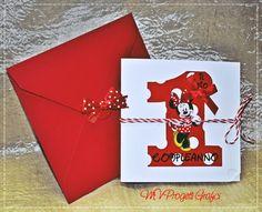 Bigliettino primo compleanno tema Minnie. Pieghevole con busta coodinata rossa decorata con fiocchetto rosso a pois bianchi. Per info@mvprogettigrafici.com www.mvprogettigrafici.com