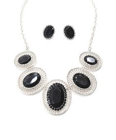 Silver & Black Jewel Necklace & Earrings #zulily #zulilyfinds