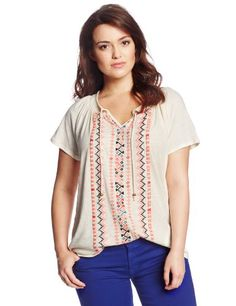 Lucky Brand Women's Plus-Size Neon Embroidered Top