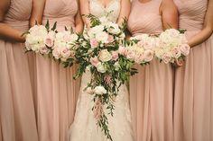 Pale blush pink bridesmaids rose bouquets and cascading bridal bouquet