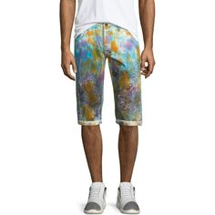 Prps Paint-Splattered Slim-Fit Shorts ($225) ❤ liked on Polyvore featuring men's fashion, men's clothing, men's shorts, white multi, mens cotton shorts, mens slim fit shorts, slim fit mens clothing, mens white shorts and mens white cotton shorts