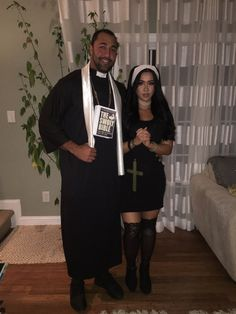 Halloween priest and nun couple costume