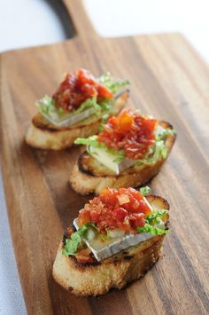 Tomato Bacon Jam Bruscheta-  Vibrant flavors of tomatoes and bacon-- sure to please the most discriminating pallet.
