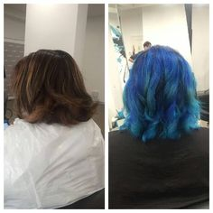 #nofilter Another cool transformation using Olaplex and Manic Panic. This client's hair was VERY damaged and VERY patchy from a previous colour job gone wrong at a salon - she wanted blue and they did the colour that you can see on the left. After advising her to use a special shampoo to strip the colour for a couple of months we were finally able to fix her colour.  We had to bleach it twice, with added Olaplex n.1 and Olaplex n.2 twice as well. We then used Manic Panic Shocking Blue…