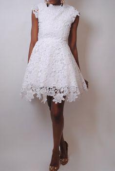 white CROCHET LACE tulle short dress . wedding graduation dress scallop uneven hem mini length