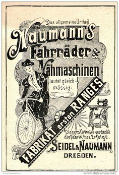 Original-Werbung/ Anzeige 1897 - NÄHMASCHINEN/ FAHRRÄDER SEIDEL & NAUMANN DRESDEN - ca. 80 x 115 mm