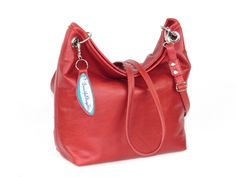 Simple Sack Red Leather Cross Body Handbag - pinned by pin4etsy.com