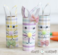 Want a new spin on DIY toilet paper roll Easter rabbits? Give these stylish scrapbook paper Easter bunnies a try. It& an Easter craft your kids will LOVE! Rabbit Crafts, Bunny Crafts, Crafts For Kids To Make, Easter Crafts For Kids, Kids Diy, Popsicle Stick Crafts, Craft Stick Crafts, Craft Ideas, Spring Crafts