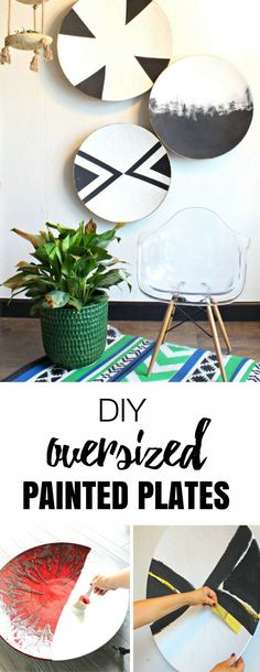 So easy to customize! DIY Oversized painted plates - Black and White Home Decor Ideas - DIY Home Decor - Plate Art - Wall Art- DIY Gift Ideas - Painting Tips and Thrift Store Finds by Refunk My Junk