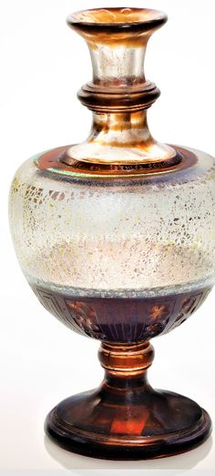 ÉMILE GALLÉ (1846-1904) A Verrerie Parlante Vase, Circa 1900 the body with foil and other inclusions, fire-polished overlay with verdis gris effects, acid-etched, engraved, and wheel-carved, the body with a flowering branches, the interior of the neck with flowers, the exterior with a heart 6 ¼ in. (15.5 cm.) high wheel-carved EG, Cross of Lorraine, Josephin Soulary Le Brouillard sur la vitre en larmes condensé... Vase, Lorraine, Branches, Overlay, Perfume Bottles, Carving, Exterior, Heart, Flowers