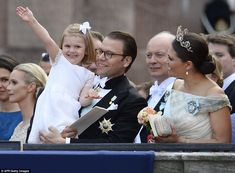 Prince Carl Philip is third in line to the throne, behind his older sister, Crown Princess Victoria, right, and her daughter, Princess Estelle, pictured waving in the arms of her father, Prince Daniel