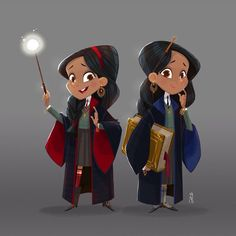 Padma and Parvati Patil (Harry Potter) by Edwardian Taylor for a Harry Potter Design Challenge