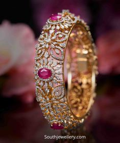 Diamond and ruby broad bangle photo Plain Gold Bangles, Ruby Bangles, Gold Bangles Design, Gold Earrings Designs, Gold Jewellery Design, Cz Jewellery, Gold Bracelets, Indian Wedding Jewelry, Indian Jewelry