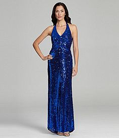 Onyx Night Sequin Halter Gown #Dillards